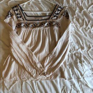 Tops - Cream boho long sleeve top
